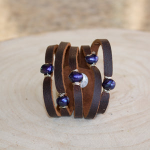 Cinco Leather Wrap Bracelet Brown-Liv & B