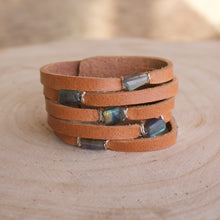 Load image into Gallery viewer, Cinco Leather Wrap Bracelet Tan