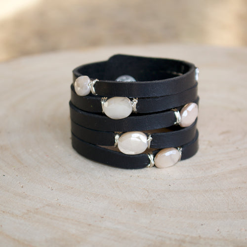 Cinco Leather Wrap Black Moonstone Bracelet