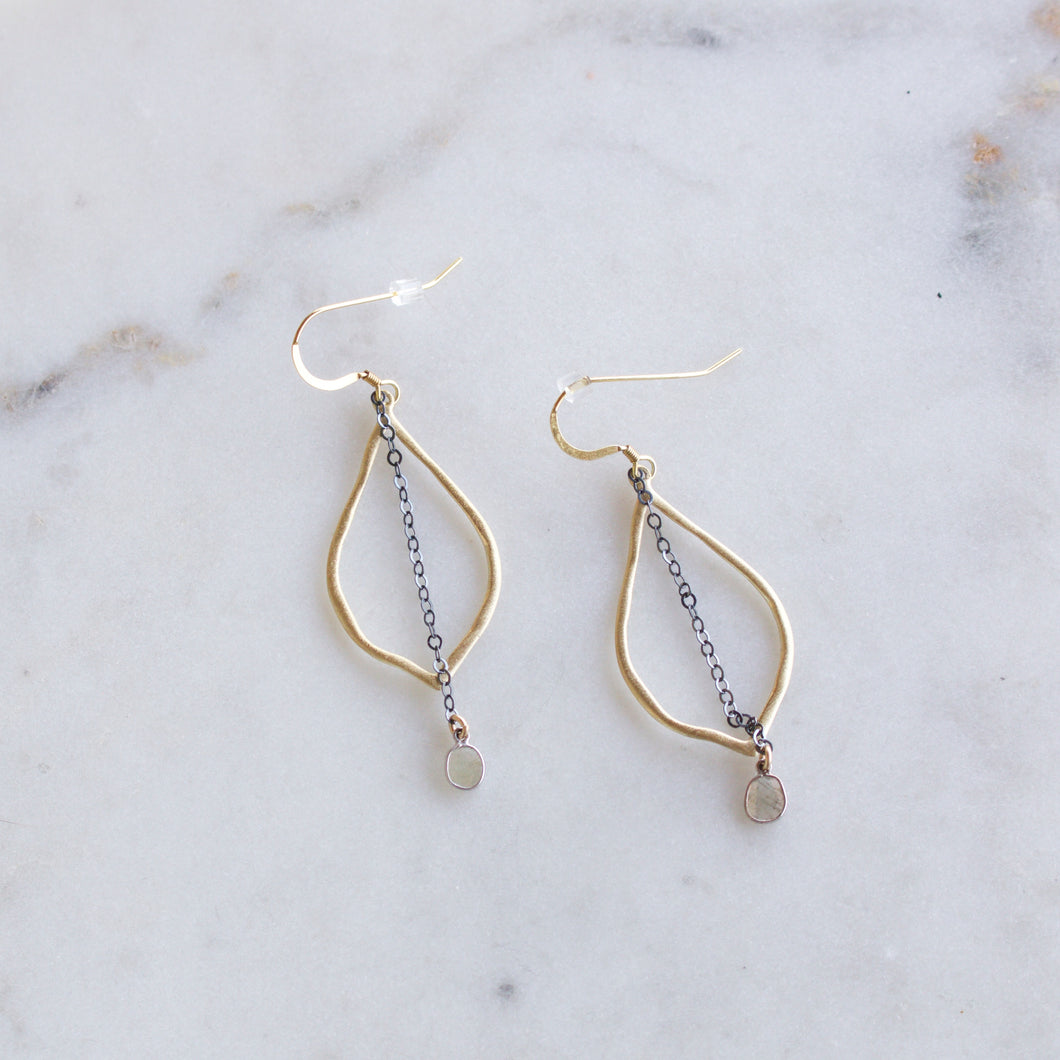 Serenity 14 K gold fill diamond slice earrings