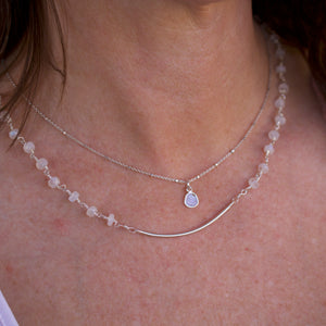 Margaret Gemstone Bar Necklace-Liv & B