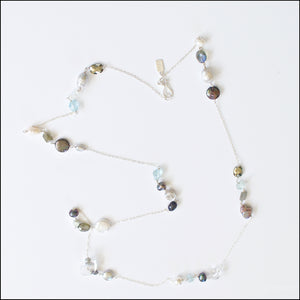 Life's a Dance Gemstone Sterling Silver Long Necklace-Liv & B