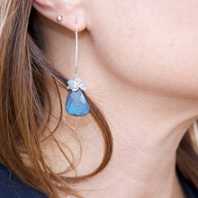 Load image into Gallery viewer, Sterling Silver Labradorite Cluster Earrings-Liv & B