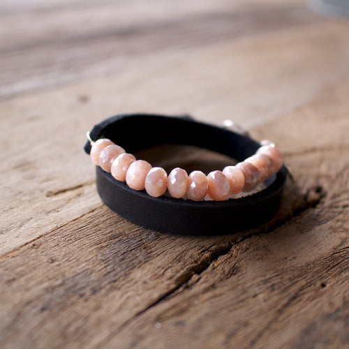 Teggin Leather and Gemstone Wrap Bracelet-Liv & B