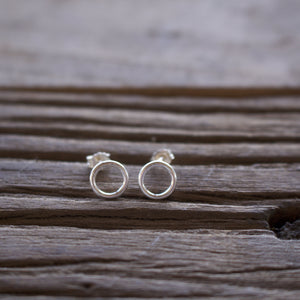 Tiny Silver Round Stud Earrings-Liv & B