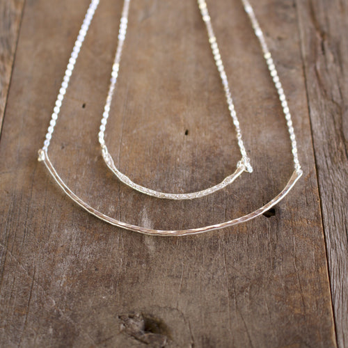 Rounded bar sterling silver necklace