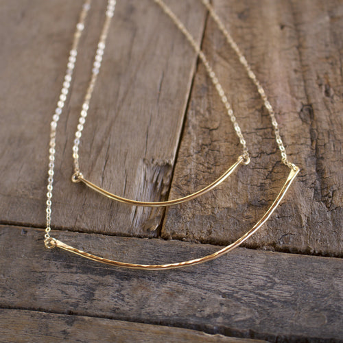 Rounded 14k gold fill Bar Necklace