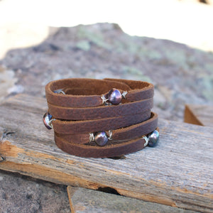 Cinco Leather Wrap Pearl