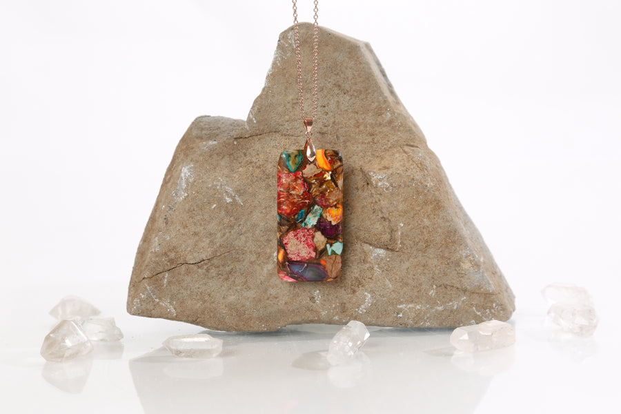 Rectangle Multi-Colored Regalite and Goldstone Necklace