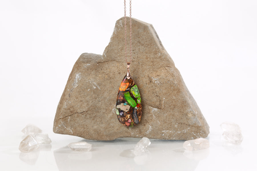 Teardrop Multi-Colored Regalite and Goldstone Necklace