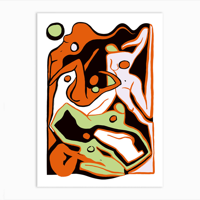 ECSTATIC NUDES 4 RED Art Print