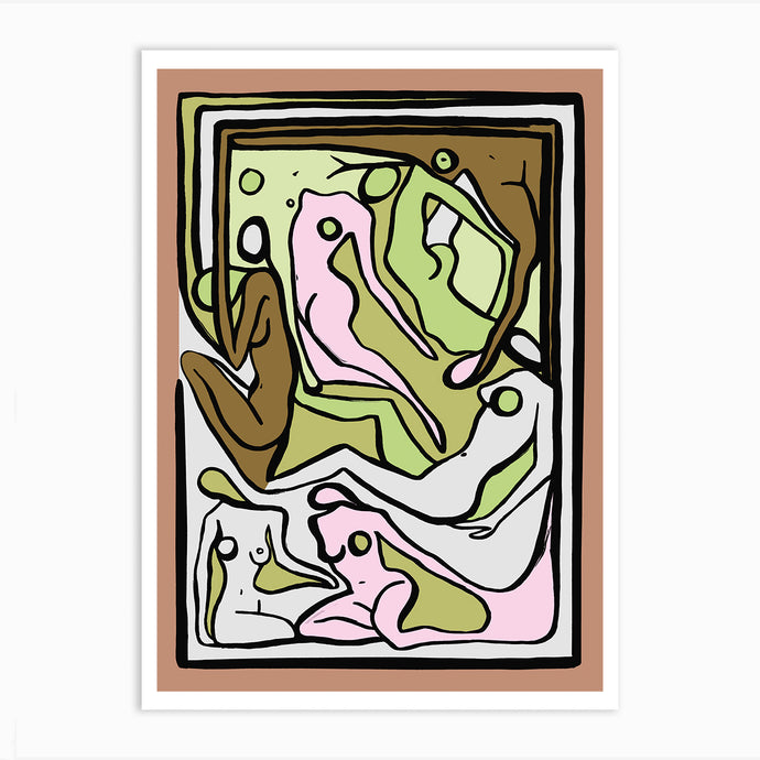 ECSTATIC NUDES 5 GREEN Art Print
