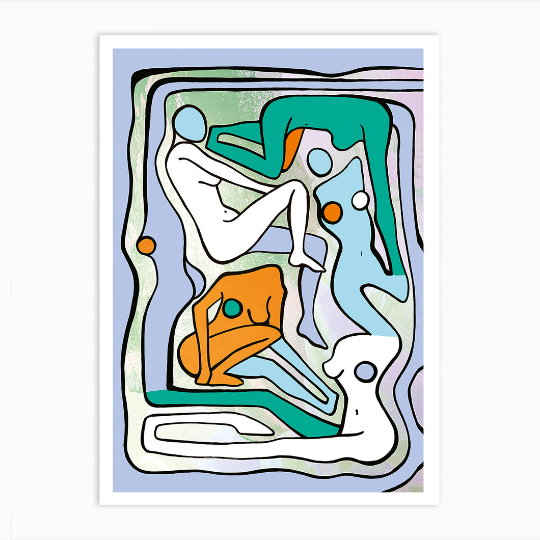 ECSTATIC NUDES 6 GREEN Art Print