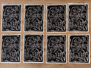 FACE BOOK 2 Linocut Art Print