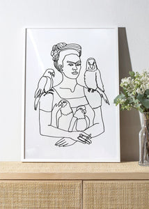 FRIDA AND BIRDS Art Print