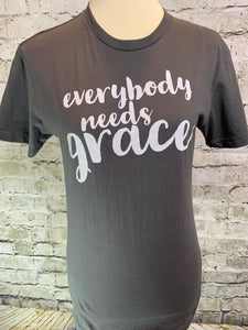 """EVERYBODY NEEDS GRACE"" Men's/Unisex Gray T-Shirt"