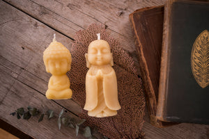 "5"" Standing Buddha Beeswax Candle"