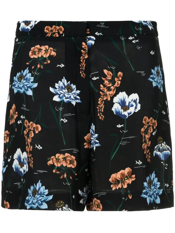 Underwater Floral Crepe Polly Shorts