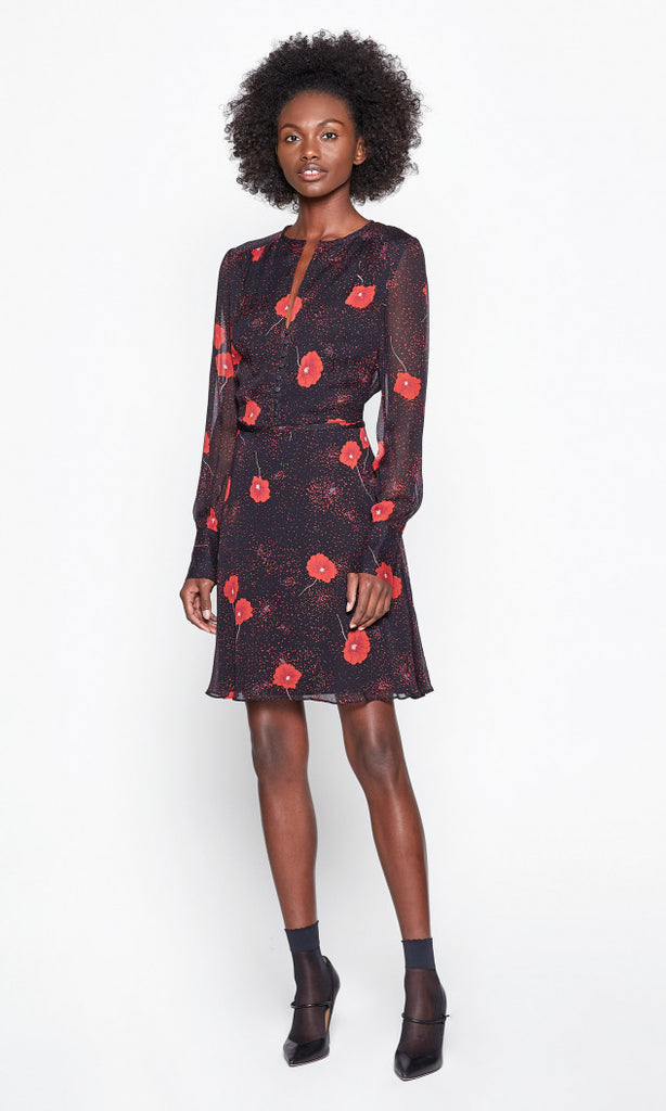 Long Sleeve Danette Silk Dress