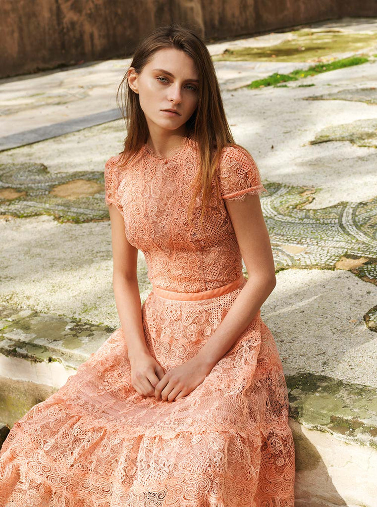 Flounce Hem Gossamer Lace Dress
