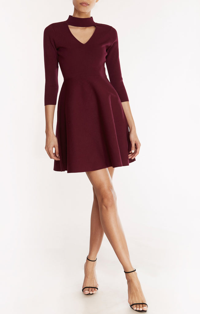Cut-out Collar Flare Dress