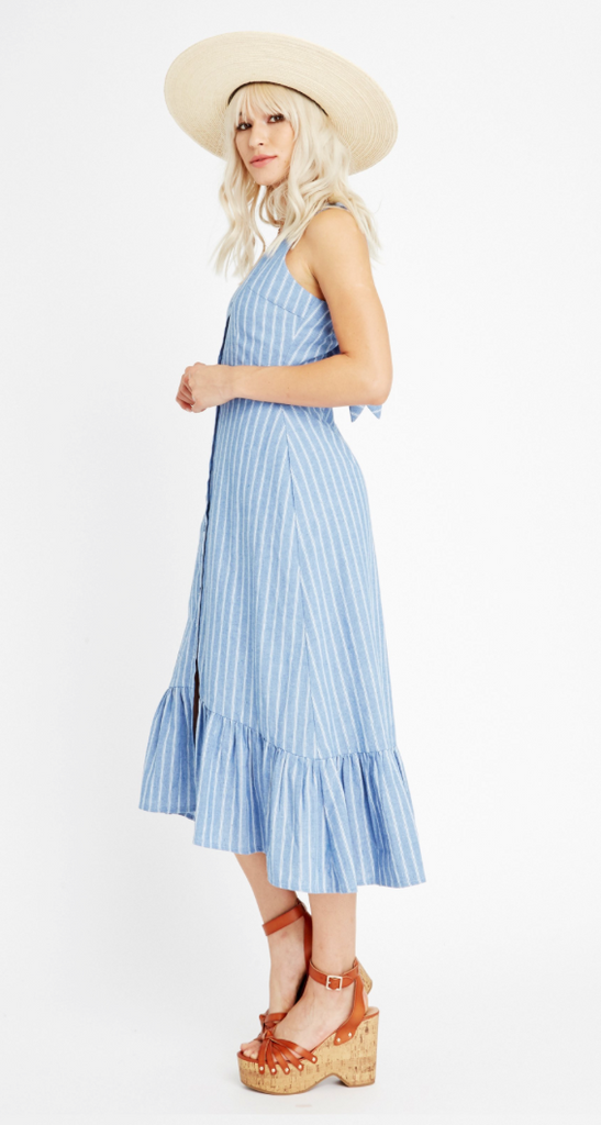 Dulce Stripe Ruffle Midi Dress