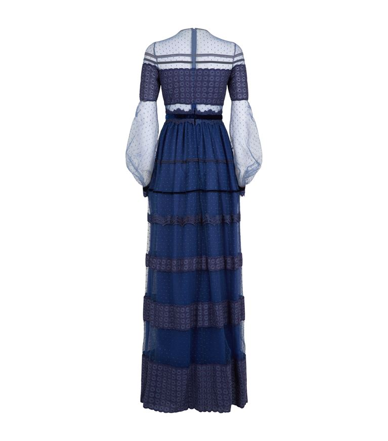 Illusion Yoke Trimmed Long Dress