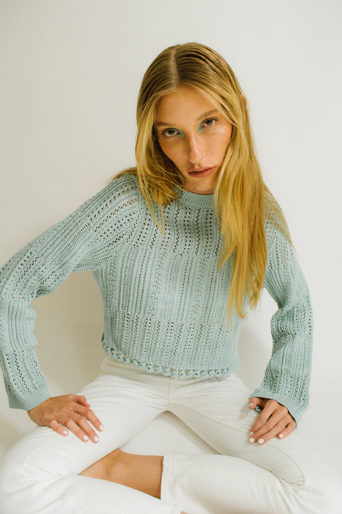 Amberly Chunky Cotton Cropped Pullover