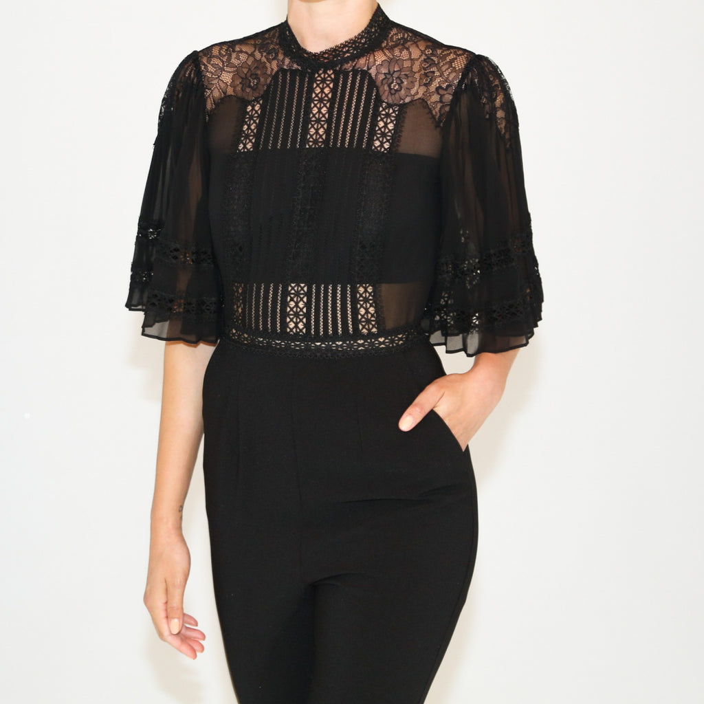 Fine Lace and Crepe Jumpsuit