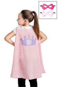 Pink Crown Cape & Mask Set