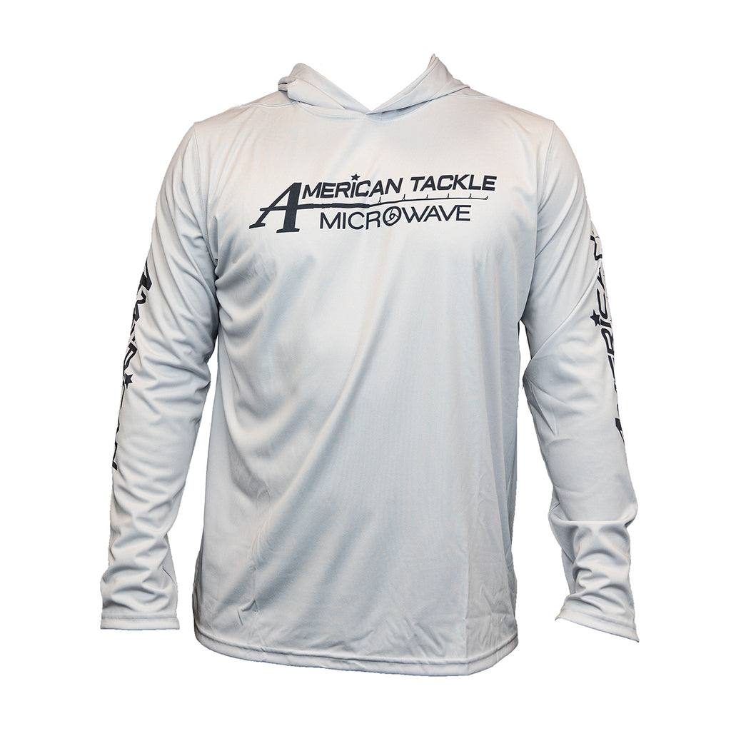 American Tackle MicroWave Long Sleeve Hooded Denali Performance Shirts - Light Grey