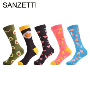 SANZETTI 5 pairs New Men's Funny Combed Cotton Socks