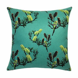 John Klein Outdoor Cushion - Banksia and Budgie (Aqua)