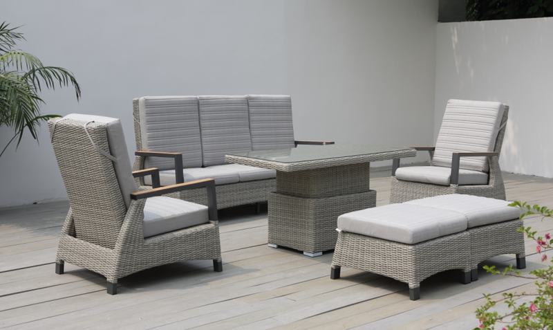 Chicago 6pc lounge Set with Adjustable Table