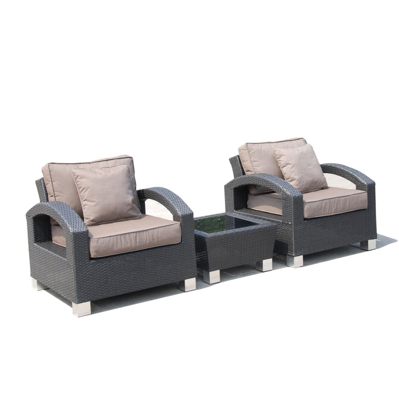 ALMO 3pc Balcony setting with brown cushions