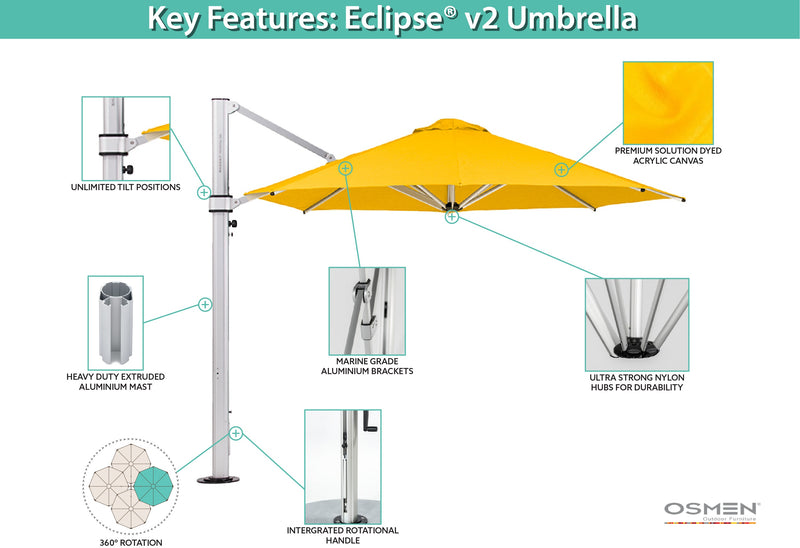 Eclipse premium solution dyed acrylic®(4m x 3m) rectangle Cantilever Umbrella - All weather®