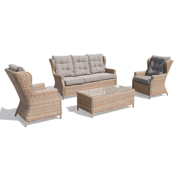 Evie Premium Solarfast® round wicker 4pc lounge setting LOUNGE Nest - OSMEN OUTDOOR FURNITURE-Sydney Metro Free Delivery