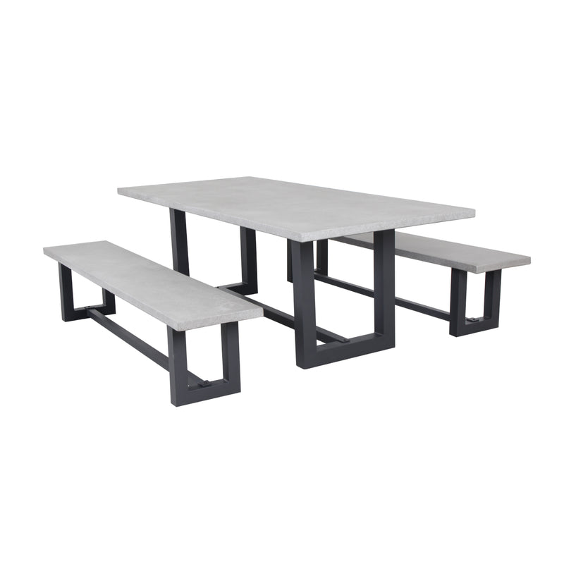 GEO 3pce BENCH SETTING DINING GOOD LIVING GLOBAL - OSMEN OUTDOOR FURNITURE-Sydney Metro Free Delivery