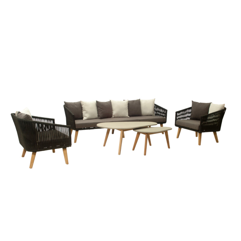 Havens (4-Seater version) 5pc Lounge setting- Teak Leg & Acrylic rope® LOUNGE LY - OSMEN OUTDOOR FURNITURE-Sydney Metro Free Delivery