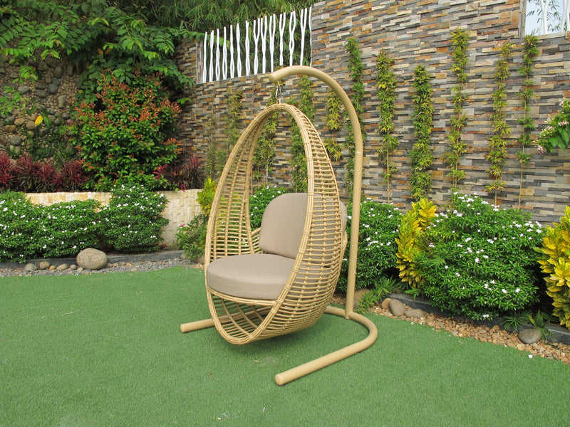 Havana Premium Bamboo Wicker Hanging Chair Sunbrella Fabric All We Osmen Outdoor Furniture