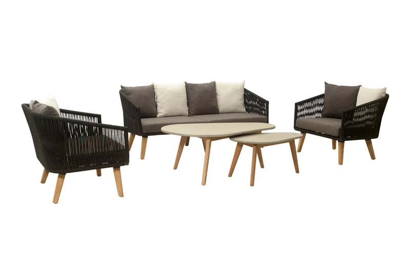 Havens (2.5-seater version) 5pc Lounge setting- Teak Leg & Acrylic rope® LOUNGE LY - OSMEN OUTDOOR FURNITURE-Sydney Metro Free Delivery