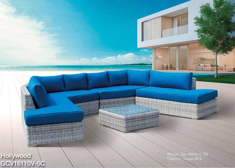 Hollywood Solarfast® Modular 5PC Setting - All weather®(Brown cushions) LOUNGE Nest - OSMEN OUTDOOR FURNITURE-Sydney Metro Free Delivery