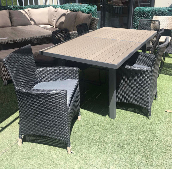 QUALIA EXT TABLE + BLACK TOWN CARVER CHAIR - 9PC SET Unclassified OSMEN - OSMEN OUTDOOR FURNITURE-Sydney Metro Free Delivery
