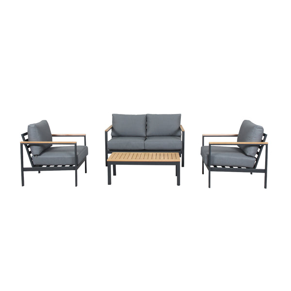GEATA 4PCE DOUBLE LOUNGE SETTING - GUNMETAL LOUNGE GOOD LIVING GLOBAL - OSMEN OUTDOOR FURNITURE-Sydney Metro Free Delivery