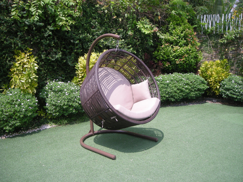 Orb Premium Bamboo Wicker® Hanging Chair - Sunbrella fabric®(All Weather) HANGING EGG ATC - OSMEN OUTDOOR FURNITURE-Sydney Metro Free Delivery