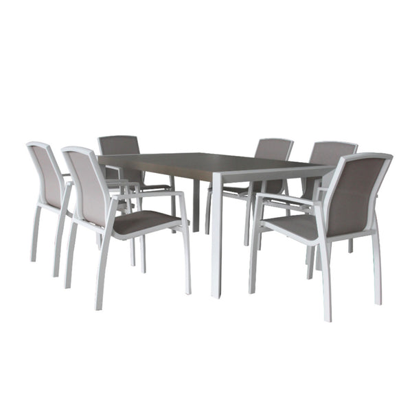 Oxford 7PC Dining Setting (Slat Chairs Version) DINING VIVIN - OSMEN OUTDOOR FURNITURE-Sydney Metro Free Delivery