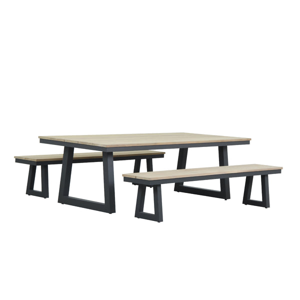 SONAR 2400 3PCE BENCH DINING SETTING DINING GOOD LIVING GLOBAL - OSMEN OUTDOOR FURNITURE-Sydney Metro Free Delivery