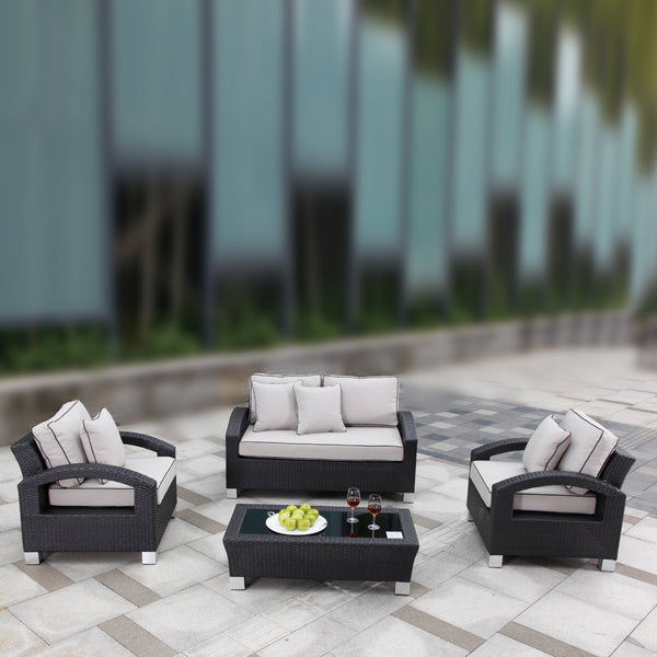 ALMO 4pc Lounge setting with brown cushions LOUNGE Nest - OSMEN OUTDOOR FURNITURE-Sydney Metro Free Delivery