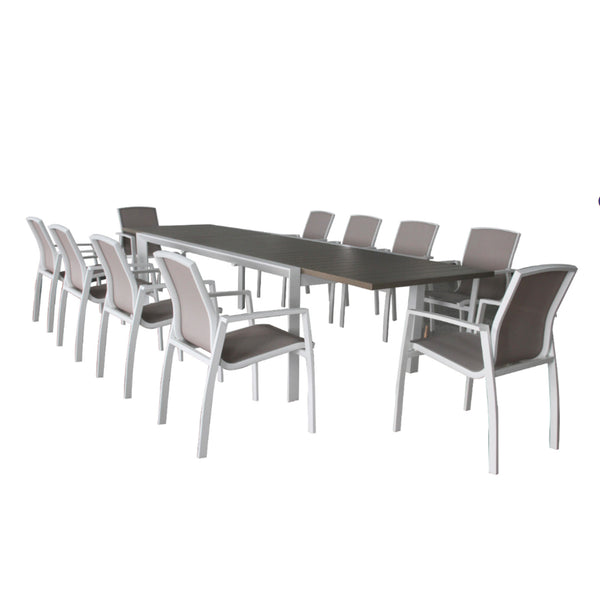 Oxford 11PC Extension Dining Setting (Slat Chairs Version) DINING VIVIN - OSMEN OUTDOOR FURNITURE-Sydney Metro Free Delivery