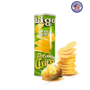 Ligo Potato Chips Sour Cream & Onion Flavor, 160g